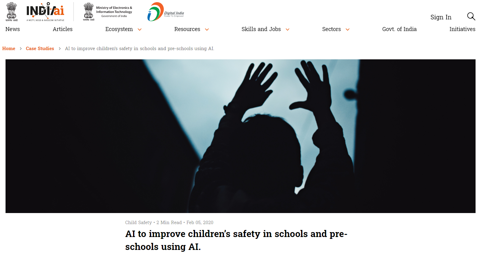 AI to improve children's safety in schools and pre-schools using AI.