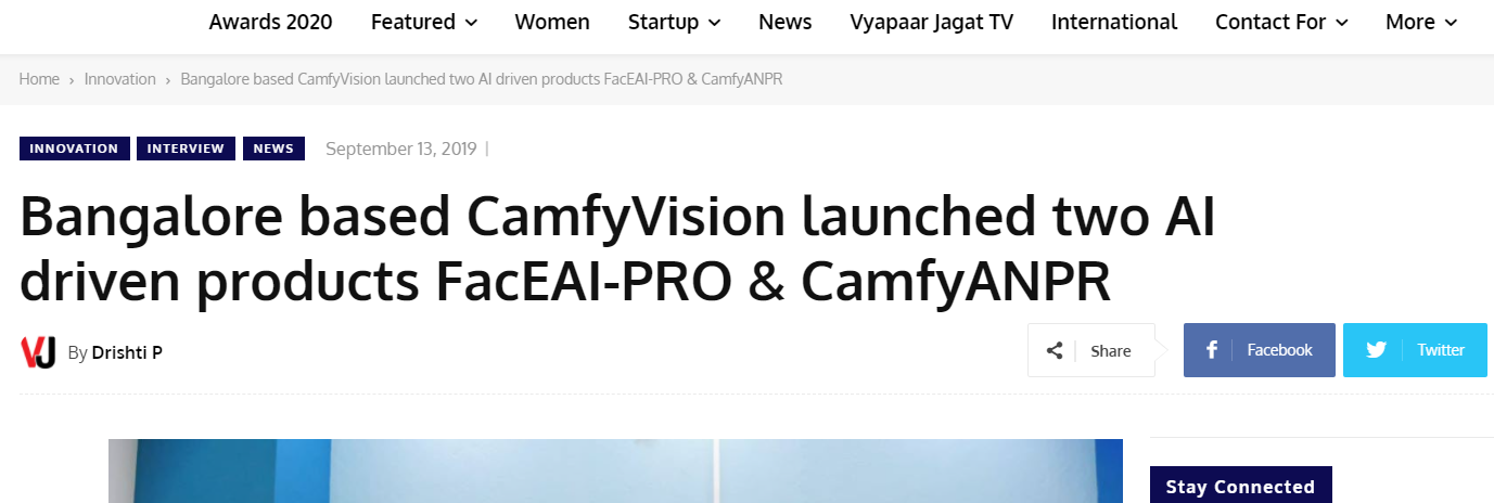 Bangalore based CamfyVision launched two AI driven products FacEAI-PRO & CamfyANPR
